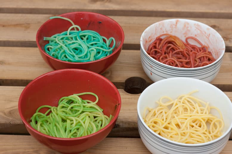 Rainbow spaghetti sensory play