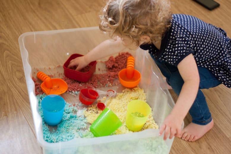 Coloured rice sensory play