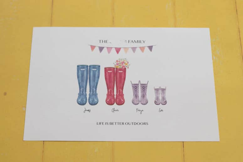 Personalised welly boot family print review