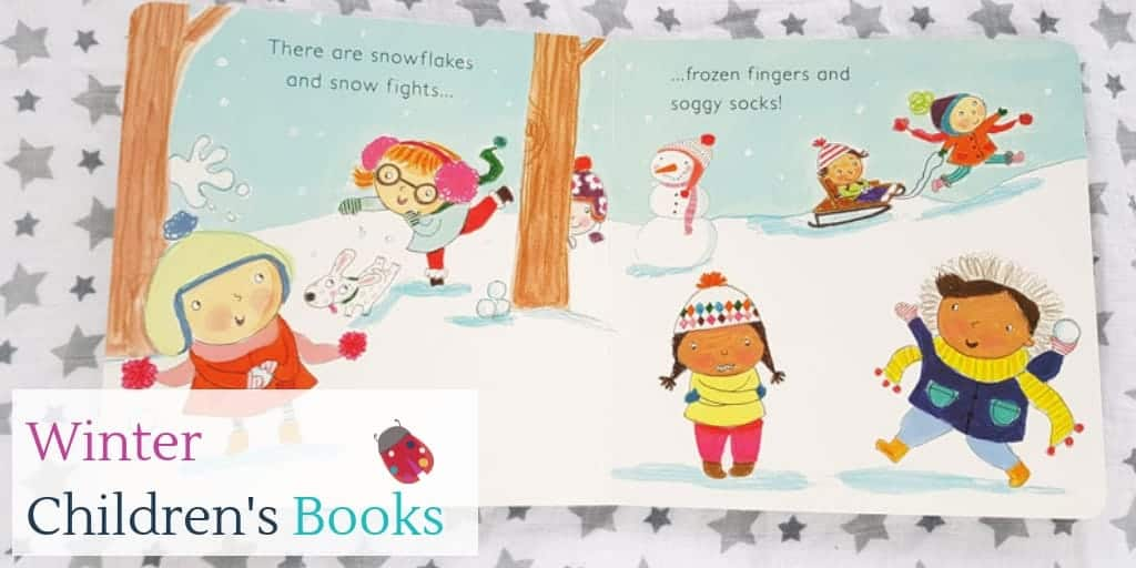 Winter children's book open at a page on children having fun in the snow
