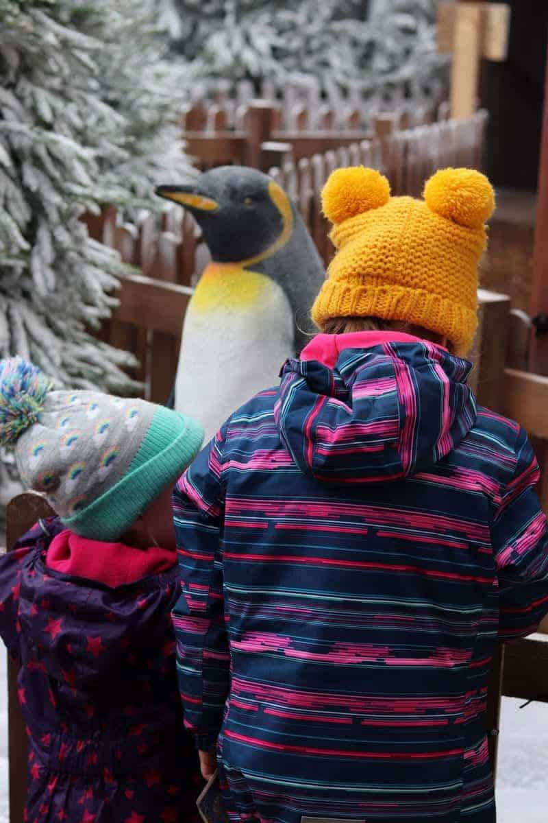 two girls dressed in winter coats at North Pole Adventure, National forest adventure farm